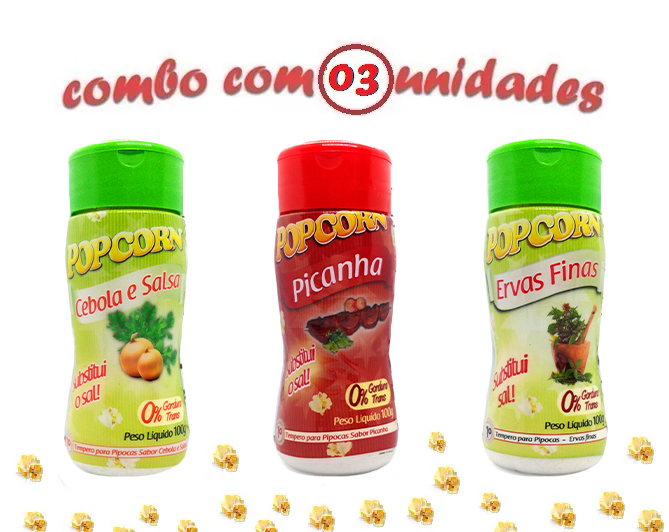 Combo Popcorn - 03 Sabores - Cebola e Salsa, Ervas Finas e Picanha