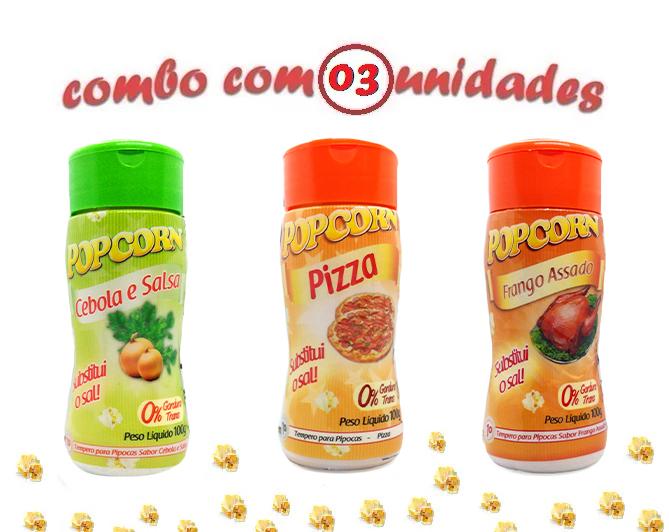 Combo Popcorn - 03 Sabores - Cebola e Salsa, Frango Assado e Pizza