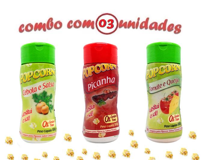 Combo Popcorn - 03 Sabores - Cebola e...