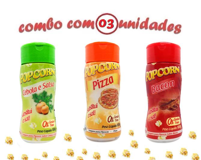 Combo Popcorn - 03 Sabores - Cebola e Salsa, Pizza e Bacon