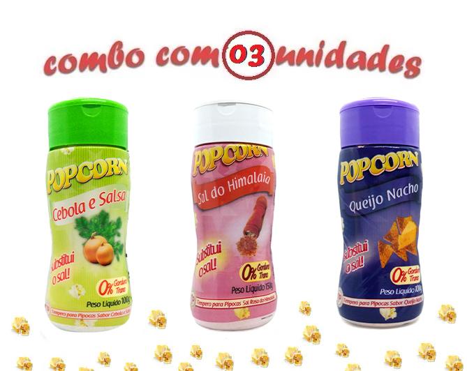 Combo Popcorn - 03 Sabores - Cebola e Salsa, Queijo Nacho e Sal do Himalaia