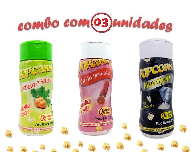 Combo Popcorn - 03 Sabores - Cebola e Salsa, Sal do Himalaia e Flavapop Manteiga