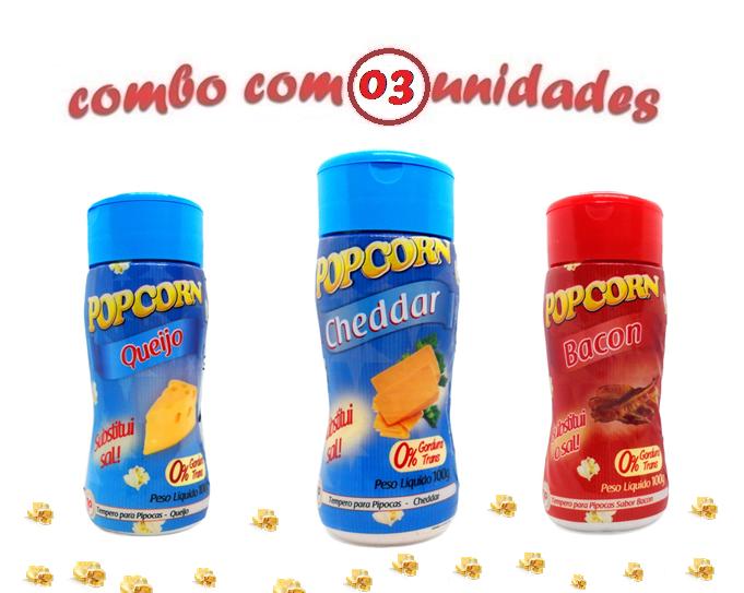 Combo Popcorn - 03 Sabores - Cheddar, Bacon e Queijo