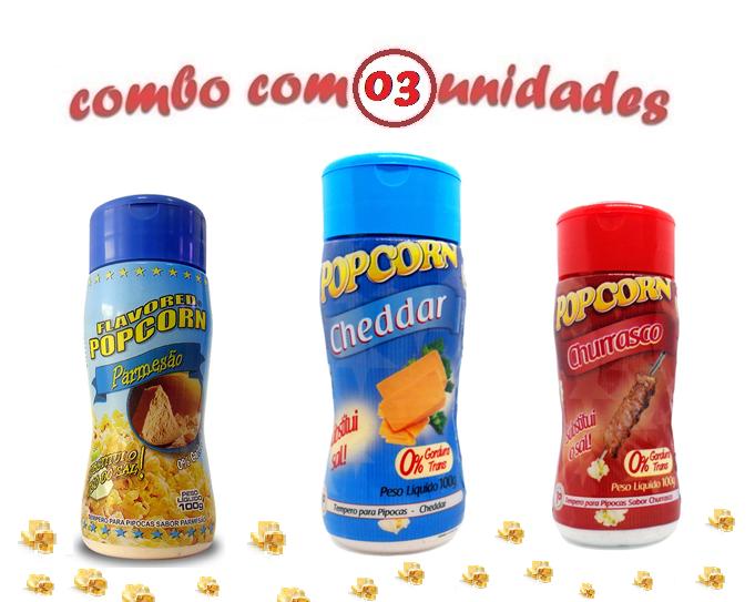 Combo Popcorn - 03 Sabores - Cheddar, Parmesão e Churrasco