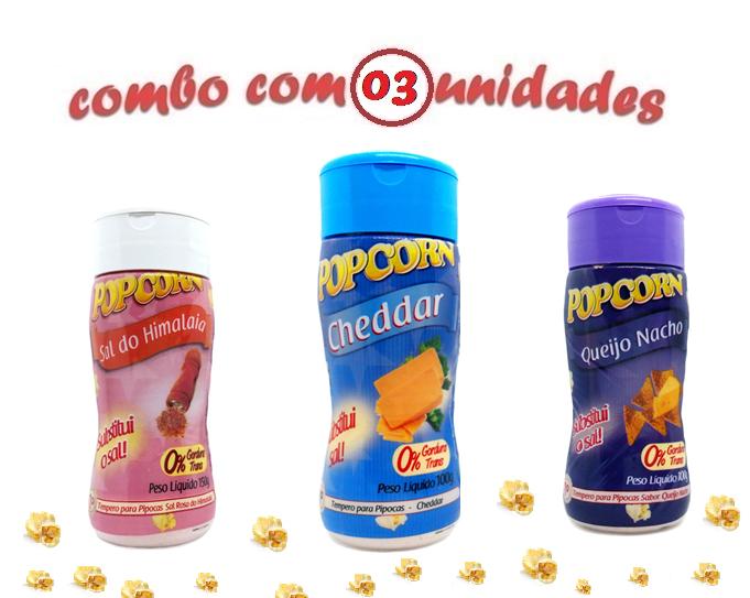 Combo Popcorn - 03 Sabores - Cheddar, Queijo Nacho e Sal do Himalaia