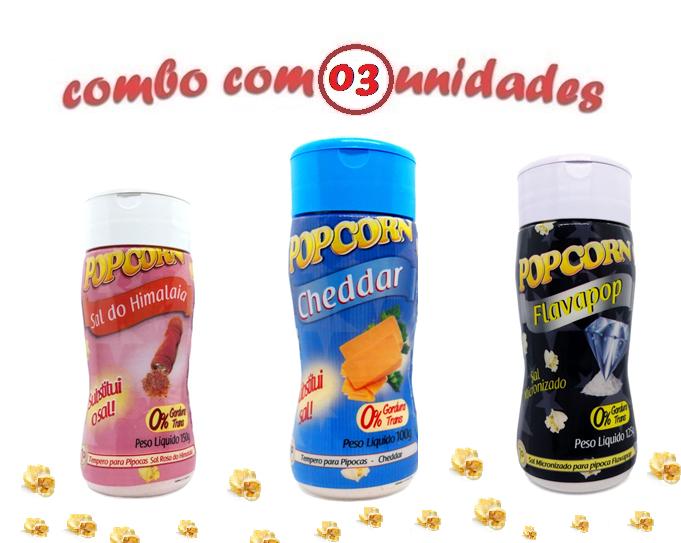 Combo Popcorn - 03 Sabores - Cheddar,...