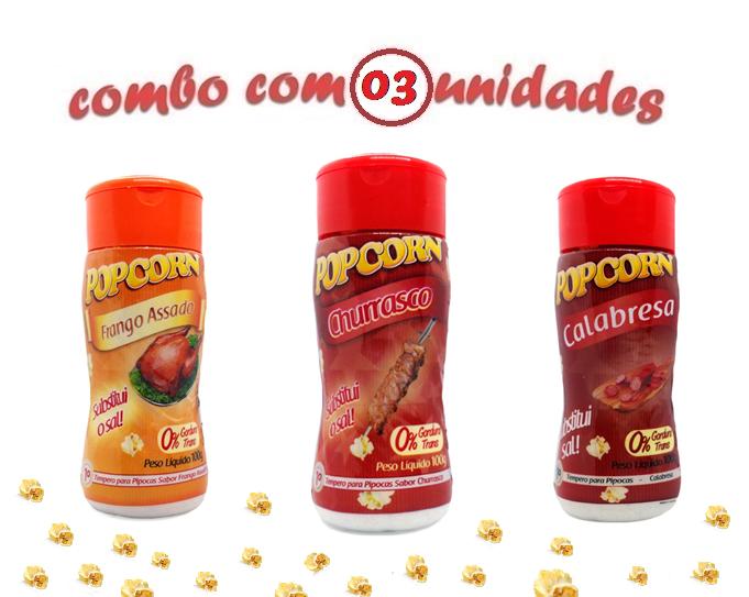 Combo Popcorn - 03 Sabores - Churrasco, Calabresa e Frango Assado