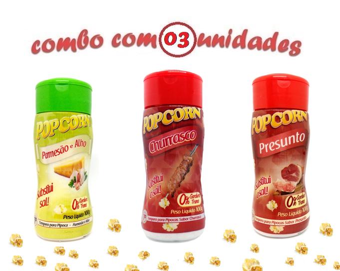 Combo Popcorn - 03 Sabores - Churrasco, Parmesão e Alho e Presunto