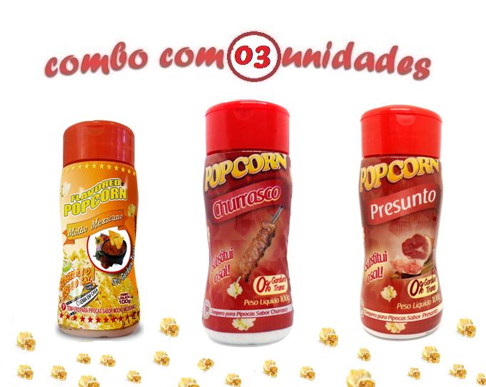 Combo Popcorn - 03 Sabores - Churrasco, Presunto e Molho Mexicano