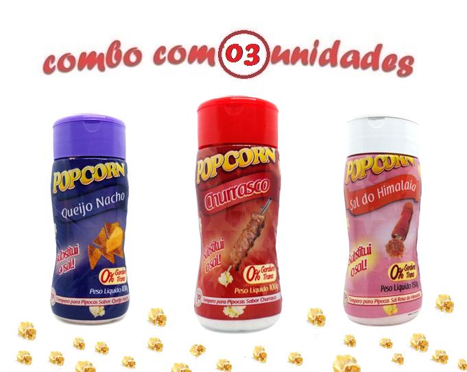 Combo Popcorn - 03 Sabores - Churrasco, Queijo Nacho e Sal do Himalaia