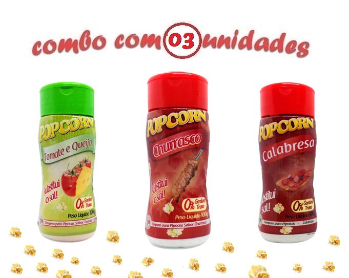 Combo Popcorn - 03 Sabores - Churrasco, Tomate e Queijo e Calabresa