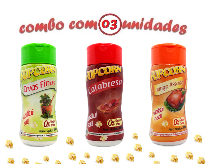 Combo Popcorn - 03 Sabores - Ervas Finas, Calabresa e Frango Assado