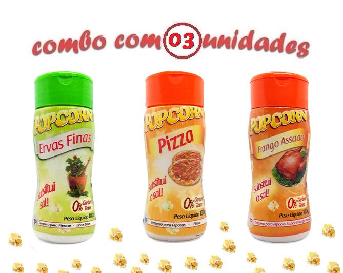 Combo Popcorn - 03 Sabores - Ervas Finas, Frango Assado e Pizza