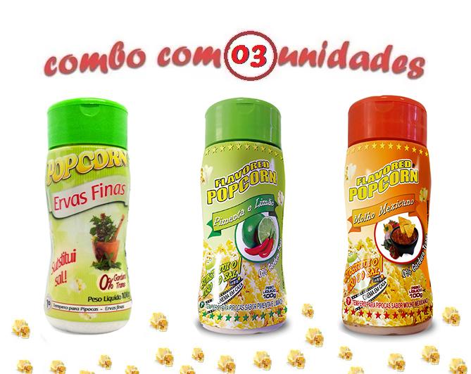 Combo Popcorn - 03 Sabores - Ervas Finas, Molho Mexicano e Pimenta e Limão