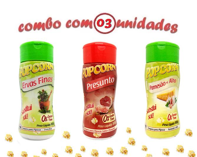 Combo Popcorn - 03 Sabores - Ervas Finas, Parmesão e Alho e Presunto