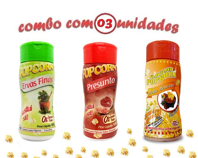Combo Popcorn - 03 Sabores - Ervas Finas, Presunto e Molho Mexicano