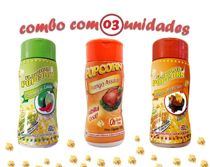 Combo Popcorn - 03 Sabores - Frango Assado, Molho Mexicano e Pimenta e Limão