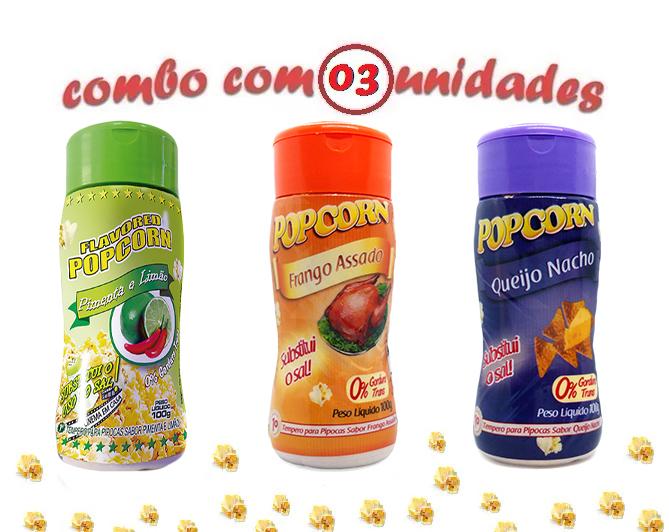 Combo Popcorn - 03 Sabores - Frango Assado, Pimenta e Limão e Queijo Nacho