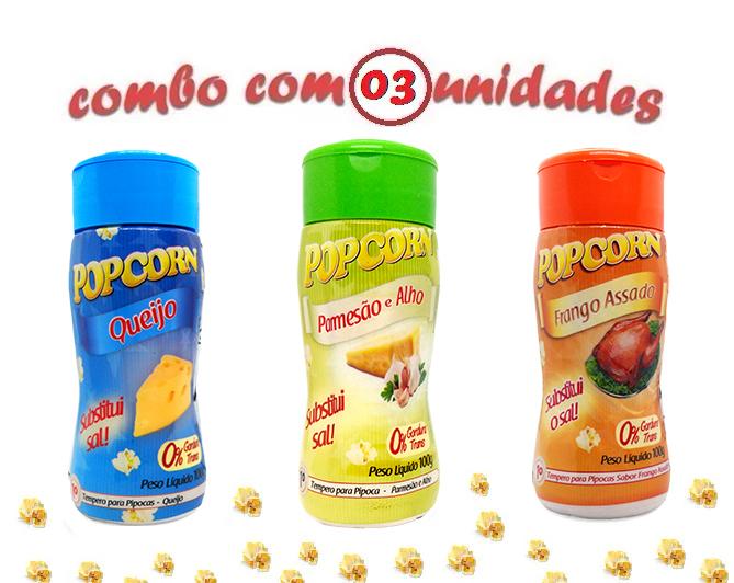 Combo Popcorn - 03 Sabores - Frango Assado, Queijo e Parmesão e Alho