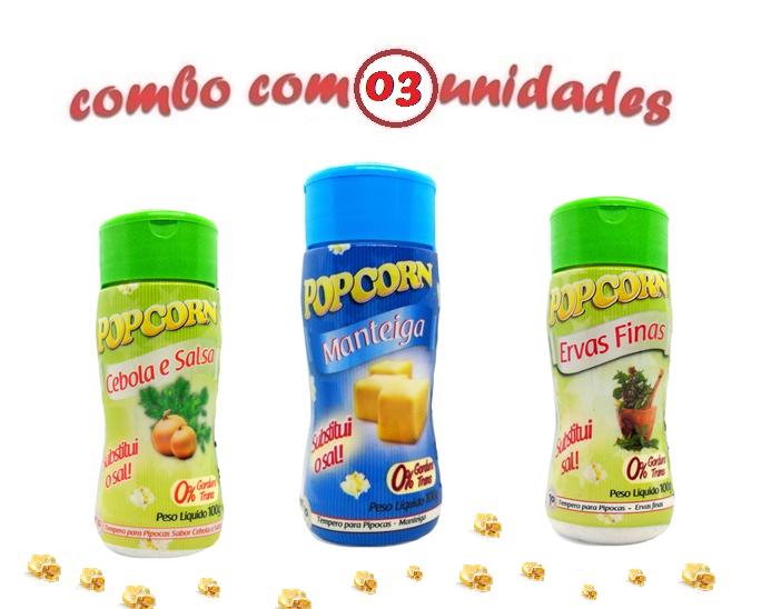 Combo Popcorn - 03 Sabores - Manteiga, Cebola e Salsa e Ervas Finas