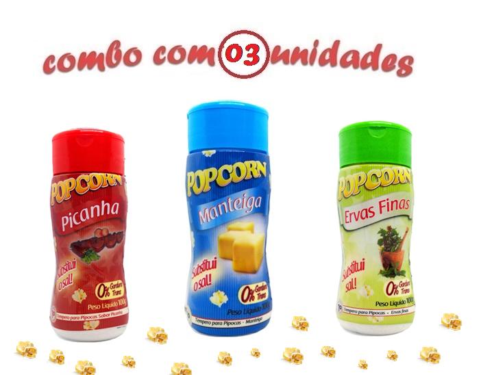 Combo Popcorn - 03 Sabores - Manteiga, Ervas Finas e Picanha