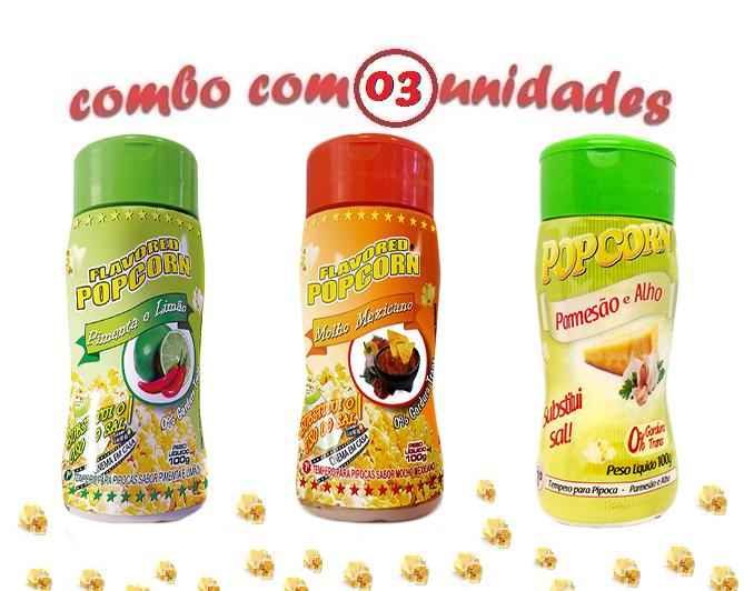Combo Popcorn - 03 Sabores - Parmesão e Alho, Molho Mexicano e Pimenta e Limão