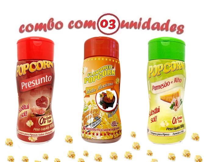 Combo Popcorn - 03 Sabores - Parmesão e Alho, Presunto e Molho Mexicano