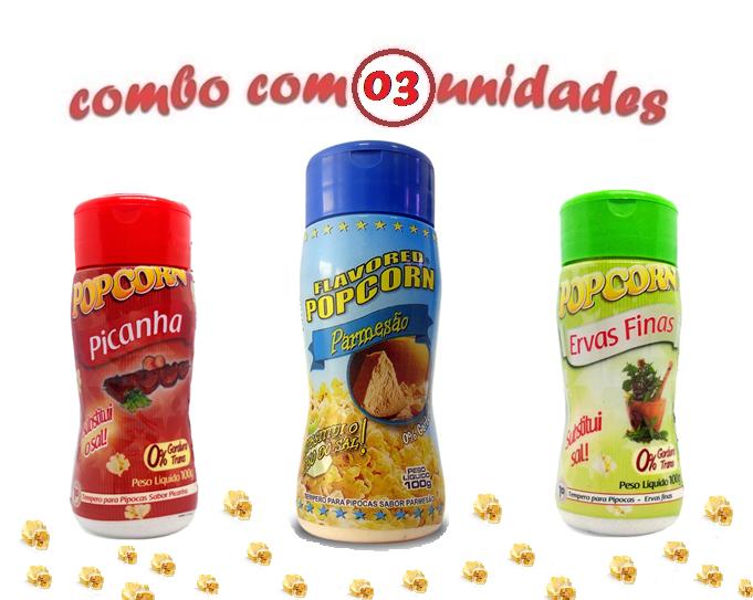 Combo Popcorn - 03 Sabores - Parmesão, Ervas Finas e Picanha