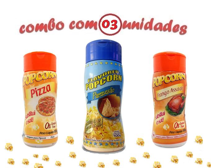 Combo Popcorn - 03 Sabores - Parmesão, Frango Assado e Pizza