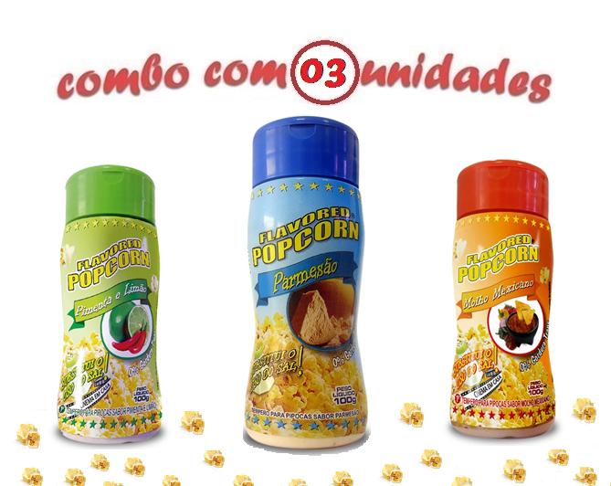 Combo Popcorn - 03 Sabores - Parmesão, Molho Mexicano e Pimenta e Limão