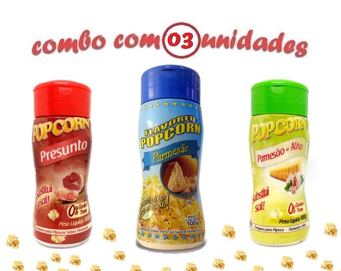 Combo Popcorn - 03 Sabores - Parmesão, Parmesão e Alho e Presunto