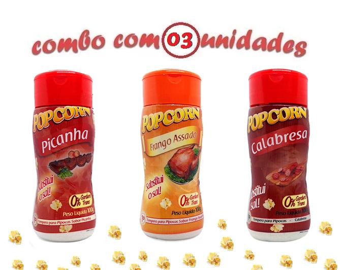 Combo Popcorn - 03 Sabores - Picanha, Calabresa e Frango Assado