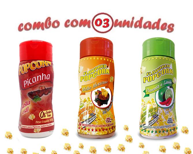 Combo Popcorn - 03 Sabores - Picanha, Molho Mexicano e Pimenta e Limão