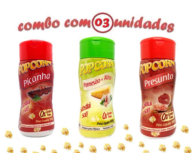 Combo Popcorn - 03 Sabores - Picanha, Parmesão e Alho e Presunto