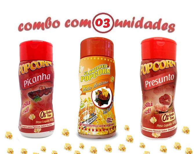 Combo Popcorn - 03 Sabores - Picanha, Presunto e Molho Mexicano