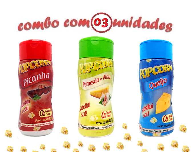 Combo Popcorn - 03 Sabores - Picanha, Queijo e Parmesão e Alho