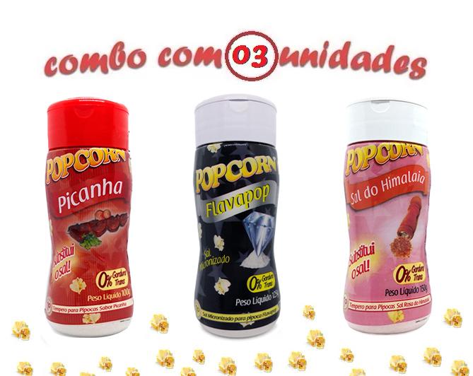 Combo Popcorn - 03 Sabores - Picanha, Sal do Himalaia e Flavapop Manteiga