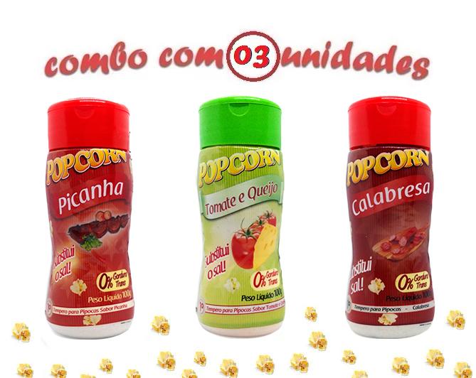 Combo Popcorn - 03 Sabores - Picanha, Tomate e Queijo e Calabresa