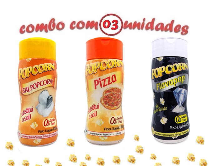 Combo Popcorn - 03 Sabores - Pizza, Flavapop Manteiga e Sal Popcorn