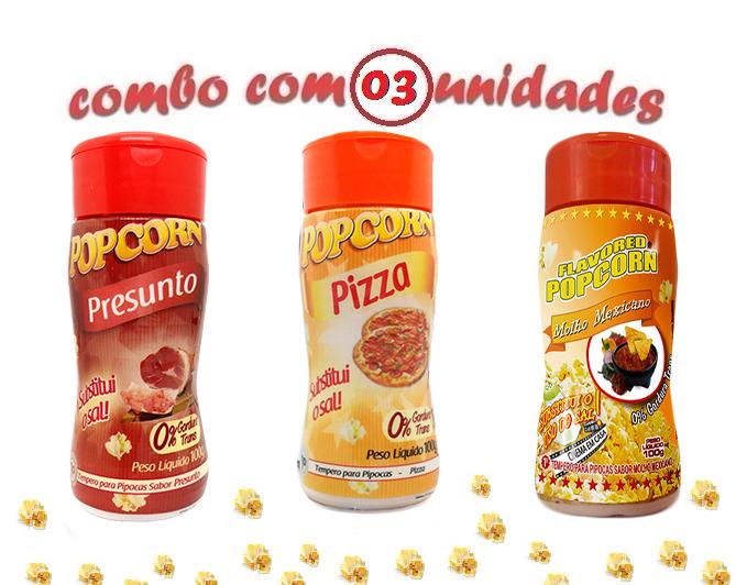 Combo Popcorn - 03 Sabores - Pizza, Presunto e Molho Mexicano