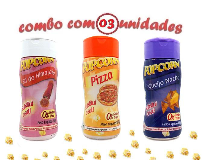 Combo Popcorn - 03 Sabores - Pizza, Queijo Nacho e Sal do Himalaia