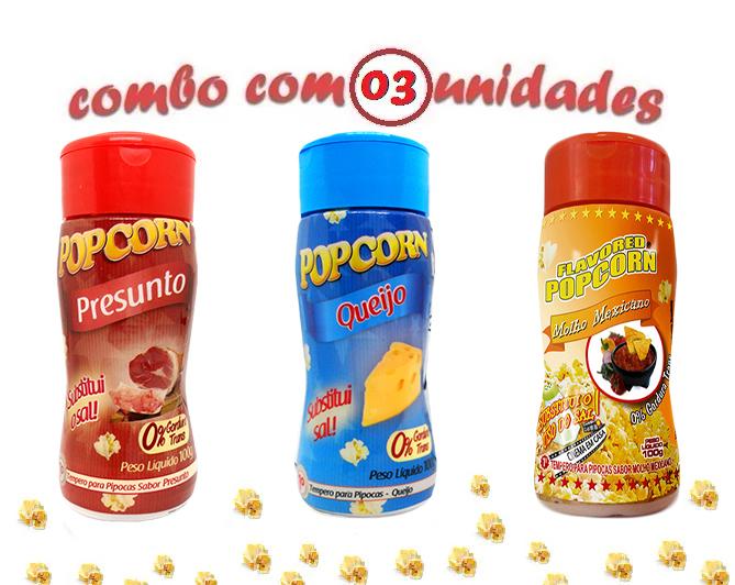 Combo Popcorn - 03 Sabores - Queijo, Presunto e Molho Mexicano