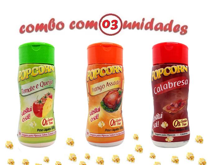 Combo Popcorn - 03 Sabores - Tomate e Queijo, Calabresa e Frango Assado