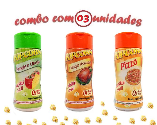 Combo Popcorn - 03 Sabores - Tomate e Queijo, Frango Assado e Pizza