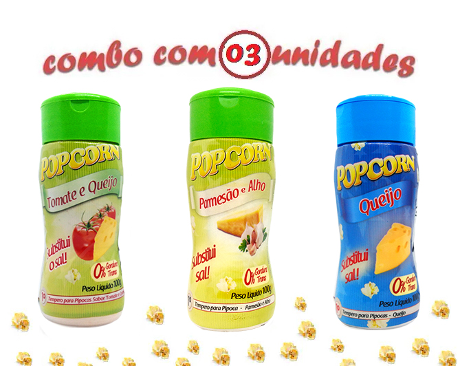 Combo Popcorn - 03 Sabores - Tomate e Queijo, Queijo e Parmesão e Alho