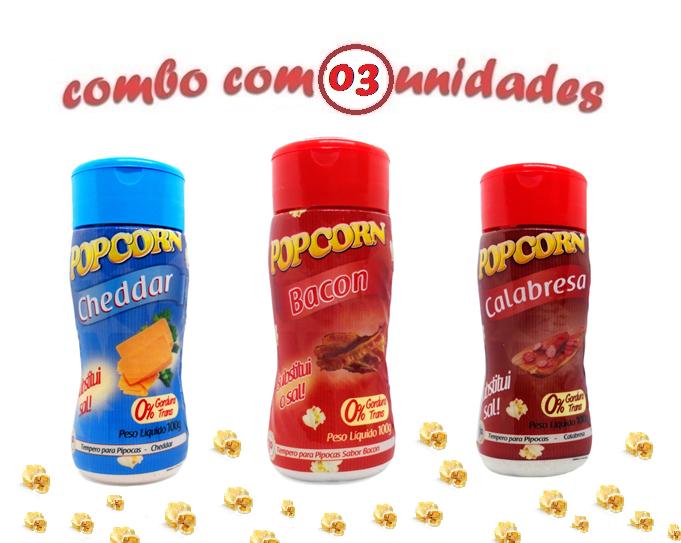Combo Temperos Popcorn - 3 Sabores -  Bacon - Cheddar - Calabresa