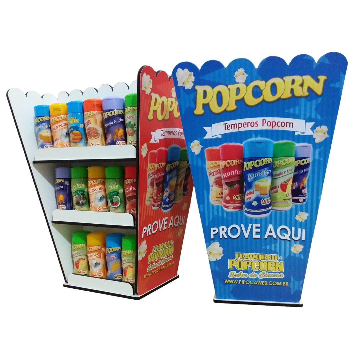 Expositor de temperos caixa Popcorn - Display  - 22 frascos - 02 frentes