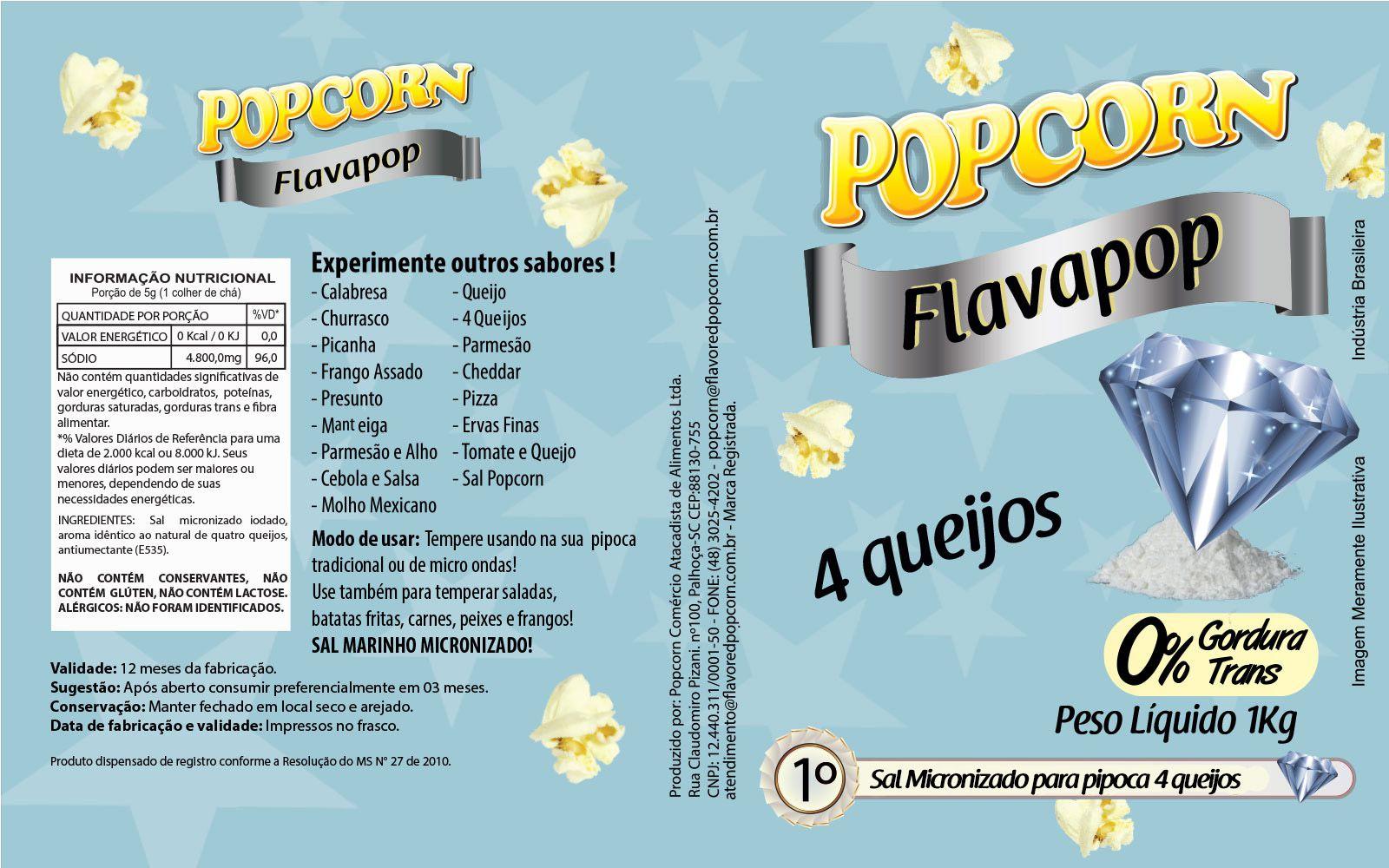 FLAVAPOP - Original de cinema -  4 queijos - Micronizado Popcorn  - Pct 1kg