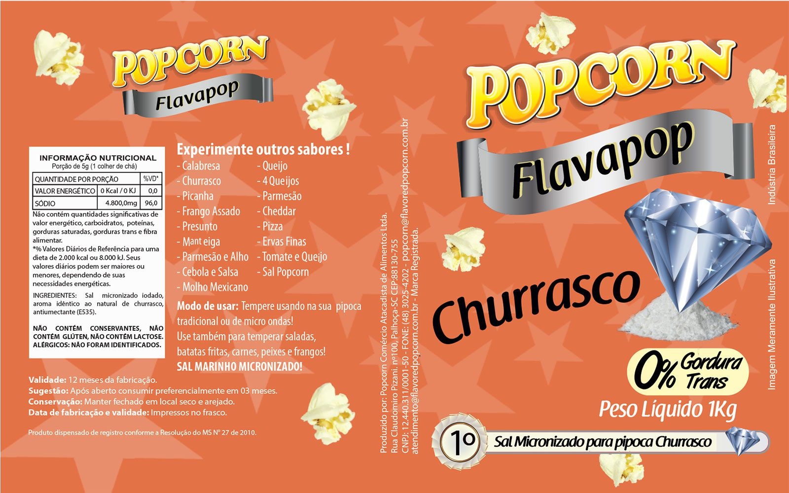 FLAVAPOP - Original de cinema -  Churrasco - Micronizado Popcorn  - Pct 1kg