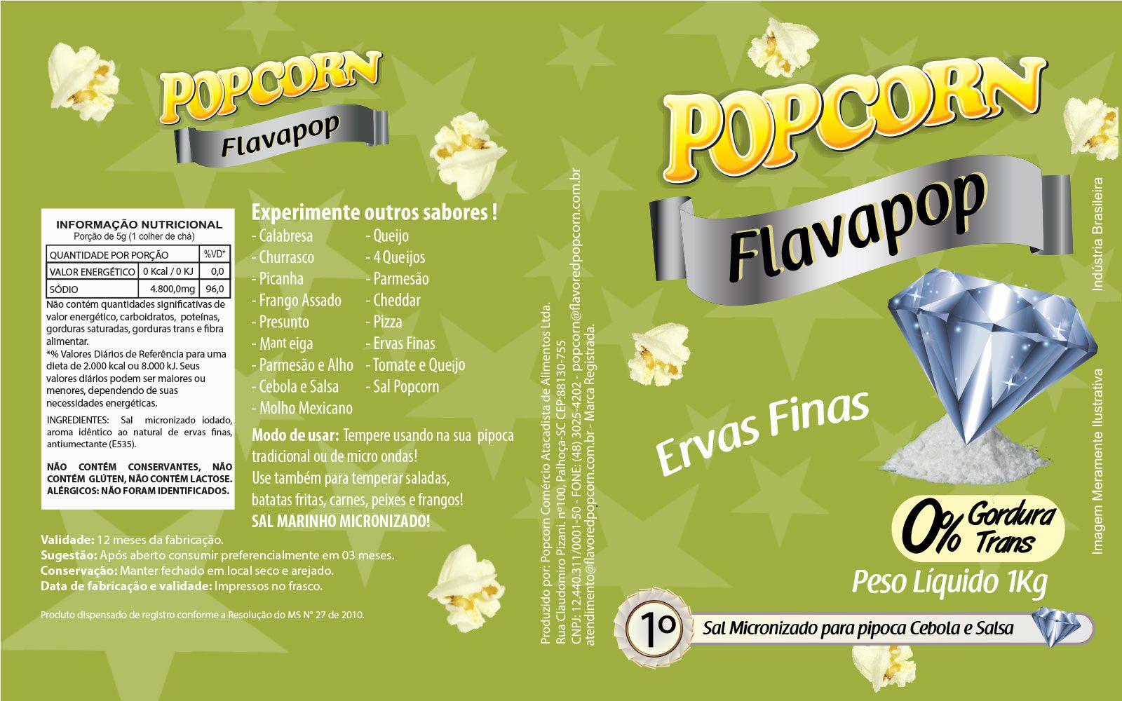 FLAVAPOP - Original de cinema -  Ervas Finas - Micronizado Popcorn  - Pct 1kg